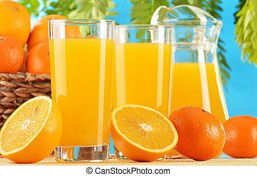 Composição, dois, ÓCULOS, laranja, suco, frutas