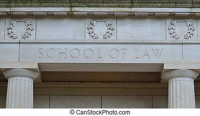 School of Law - facade of school of law building at a...