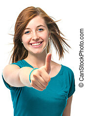 female teenager shows  thumbs up