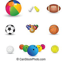 Collection of colorful sports balls illustration The...