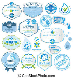 Set of water labels - Set of vector water labels