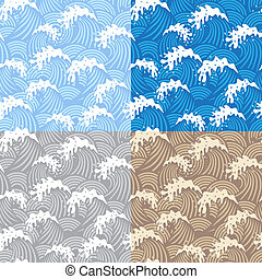 Samless patterns with waves - Set of four samless patterns...