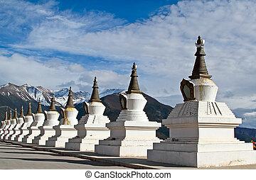 blanco, Pagodas, tibet