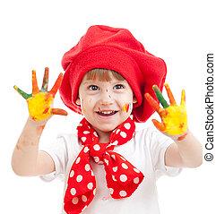 alegre, niña, niño, pintado, Manos, aislado,...