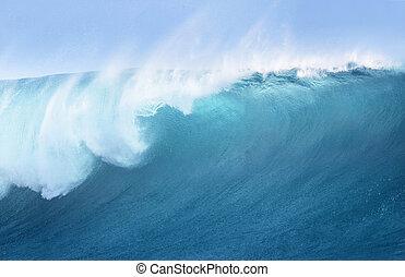 grande, azul, surfando, onda