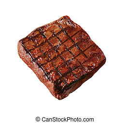 hot fresh grilled boneless rib eye steak isolated on white with barbecue grill marks in the meat