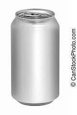 Blank aluminum soda can isolated on white background