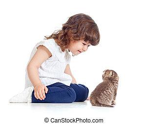 Funny child sitting on floor. Scottish kitten looking at girl.