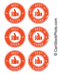 Best seller, choice, offer retro gr - Vintage labels set...