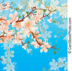 vector blossoming tree brunch in the garden on the blue sky...