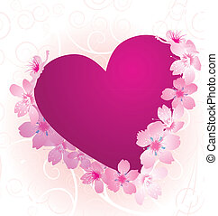 violet and pink heart with blooming cherry tree flowers isolated on white