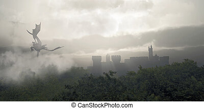 Misty Fantasy Forest - Dragon flying over a castle in a...