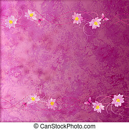 magenta and purple grange paper background with flowers...