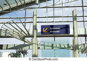Airport Arrival Sign - contemporary architecture of interior...