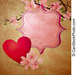 grunge illustration with blooming cherry tree and red heart valentine's day frame