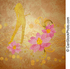 girl and pink flowers on grunge background old paper
