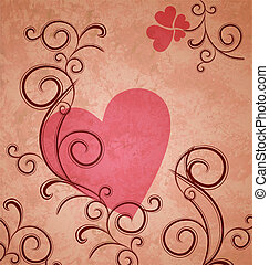 pink heart on brown grunge paper background with flourishes and curves