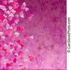 little hearts side grunge vintage paper background