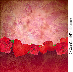 grunge red hearts and roses border red background lovely...