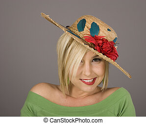 Blonde in Flowered Hat Crooked Smile