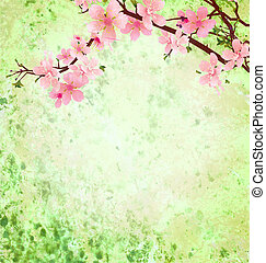 pink cherry blossom branch on green grunge background easter...