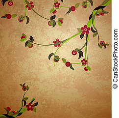 blossoming tree illustration on grunge old paper background