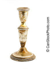 Old tarnished candlestick holder