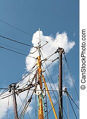ship's mast - The ship's mast at a cutter is rises into the...
