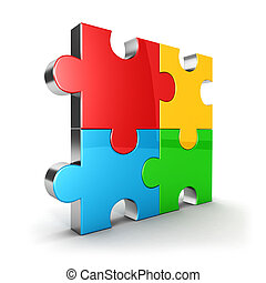 3d puzzle icon, four color puzzle piece, isolated...