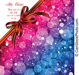 Magic Lights background with red bow. Vector illustration