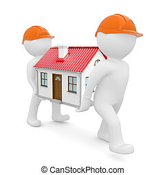 Two workers in hard hats have house with red roof - Two...