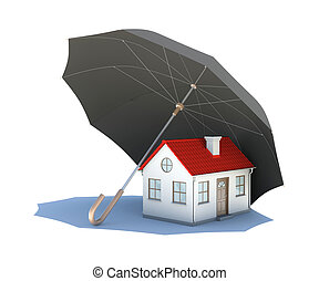 Umbrella covering the house Isolated on white background