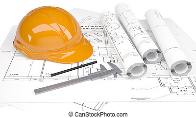 Construction helmet and calipers in the drawings. Isolated...