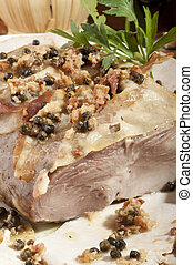 roast pork with green pepper and rosemary