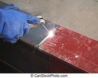 welding with mig-mag method on metal beam