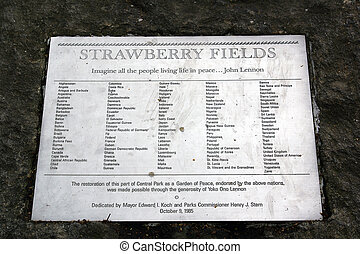 Strawberry Fields - The memorial plate at Strawberry Fields...