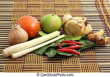 Thai food ingredient for Tom yum kung on wood background