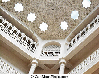 Ceiling - Islamic palace ornamented white ceiling with...