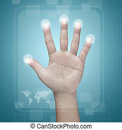 interface, toque, tela, Empurrar, mão