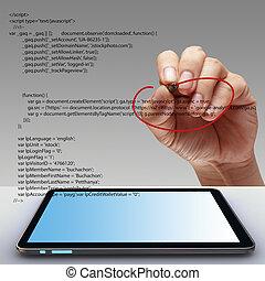 Hand, Schreiben, html, Quelle, Code