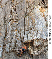 Climber on Sistiana rock, Trieste - Young Climber on...