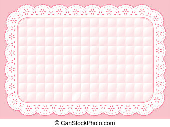 Placemat Quilted Pastel Eyelet Lace - Decorative quilted...
