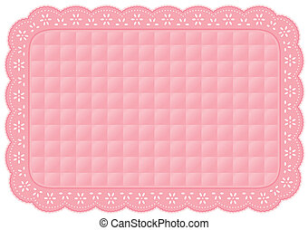 Placemat Quilted Pastel Eyelet Lace - Decorative pastel pink...