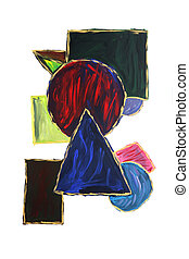 Abstract watercolor square circle and triangle