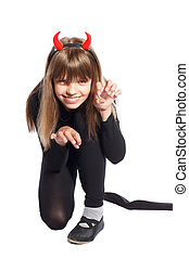 devil girl - girl in devil costume waving his tail on a...