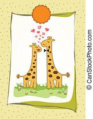 Funny giraffe couple in love
