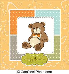 birthday card with a teddy bear