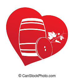Wine barrel inside heart frame