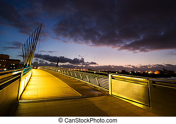 media city manchester footbridge - Media City bridge at...