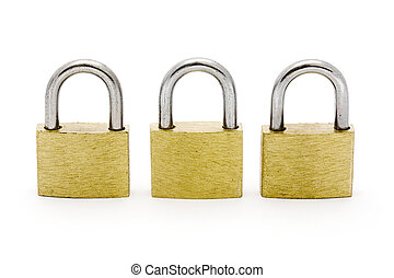 Three padlocks in a row isolated on white